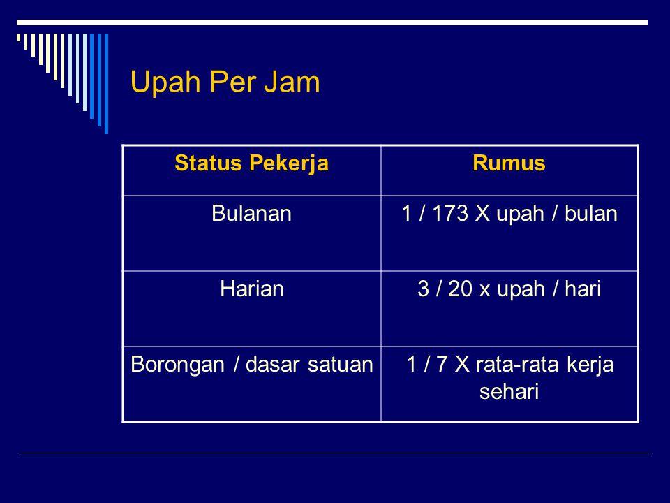 Upah Per Jam Status Pekerja Rumus Bulanan 1 / 173 X upah / bulan