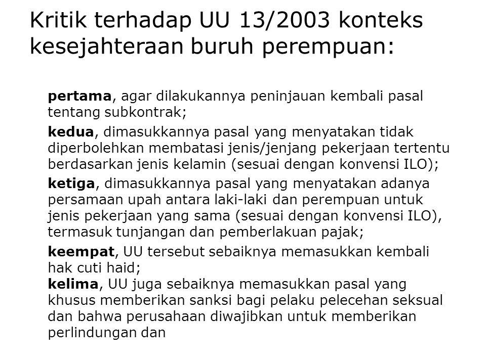 Kritik terhadap UU 13/2003 konteks kesejahteraan buruh perempuan: