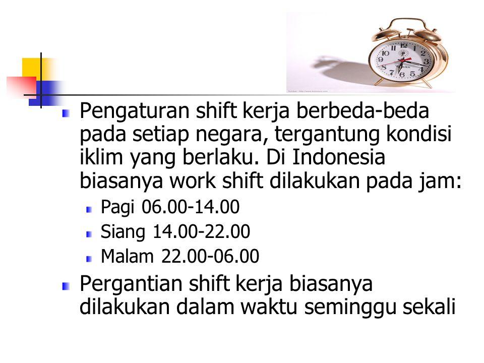 Pergantian shift kerja biasanya dilakukan dalam waktu seminggu sekali