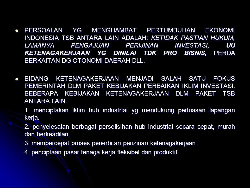 PERSOALAN YG MENGHAMBAT PERTUMBUHAN EKONOMI INDONESIA TSB ANTARA LAIN ADALAH: KETIDAK PASTIAN HUKUM, LAMANYA PENGAJUAN PERIJINAN INVESTASI, UU KETENAGAKERJAAN YG DINILAI TDK PRO BISNIS, PERDA BERKAITAN DG OTONOMI DAERAH DLL.