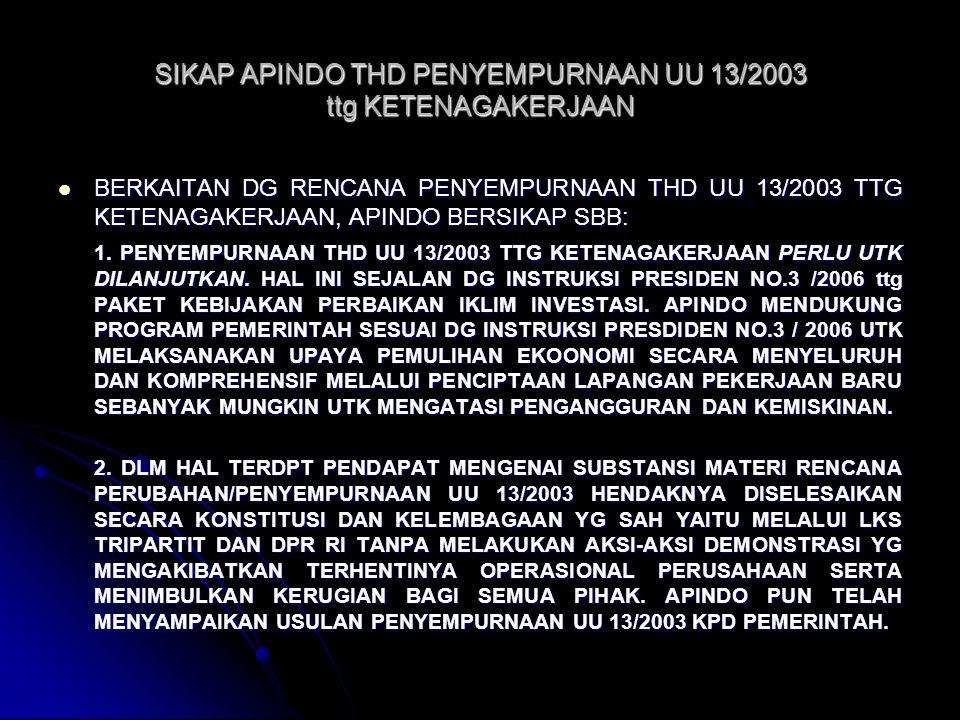 SIKAP APINDO THD PENYEMPURNAAN UU 13/2003 ttg KETENAGAKERJAAN