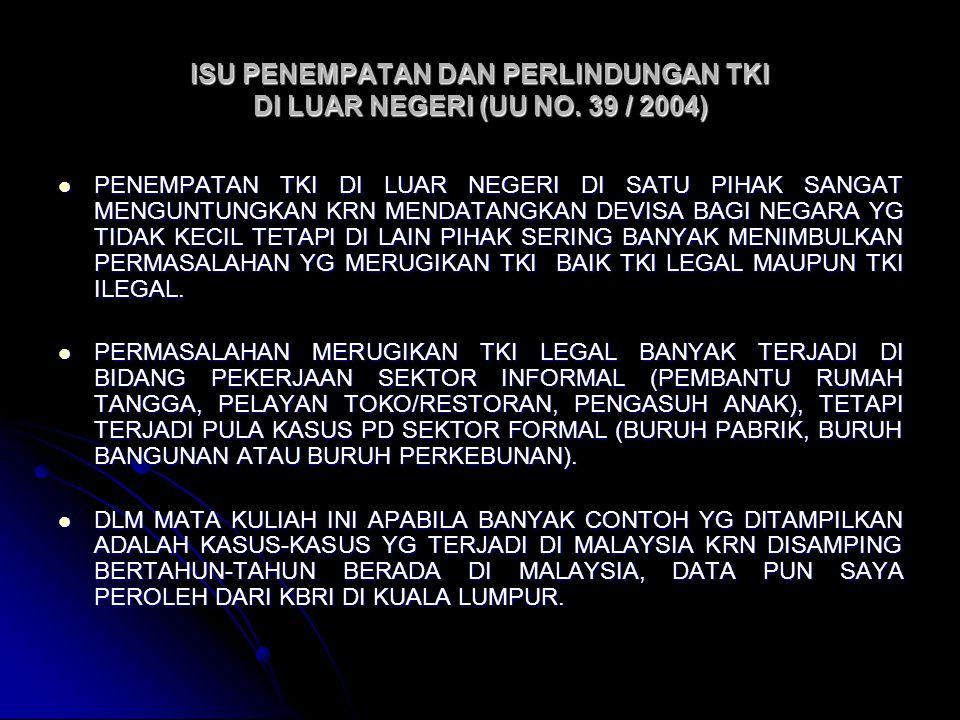 ISU PENEMPATAN DAN PERLINDUNGAN TKI DI LUAR NEGERI (UU NO. 39 / 2004)
