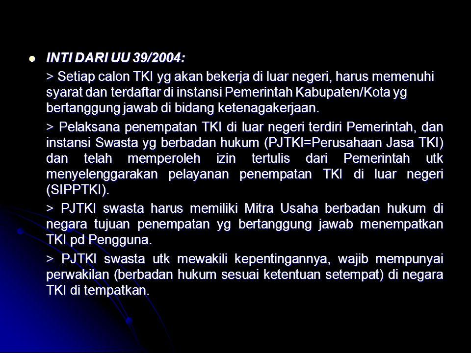 INTI DARI UU 39/2004: