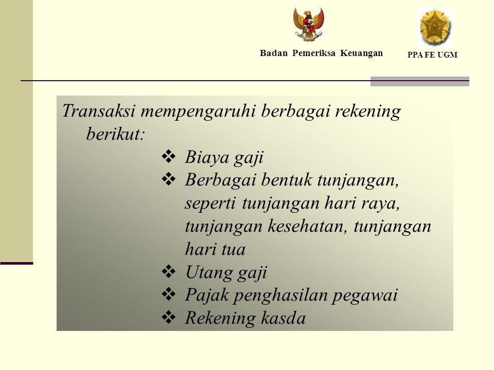 Transaksi mempengaruhi berbagai rekening berikut: Biaya gaji