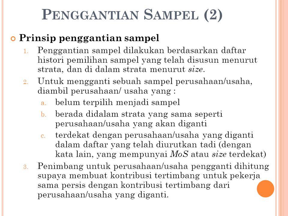 Penggantian Sampel (2) Prinsip penggantian sampel