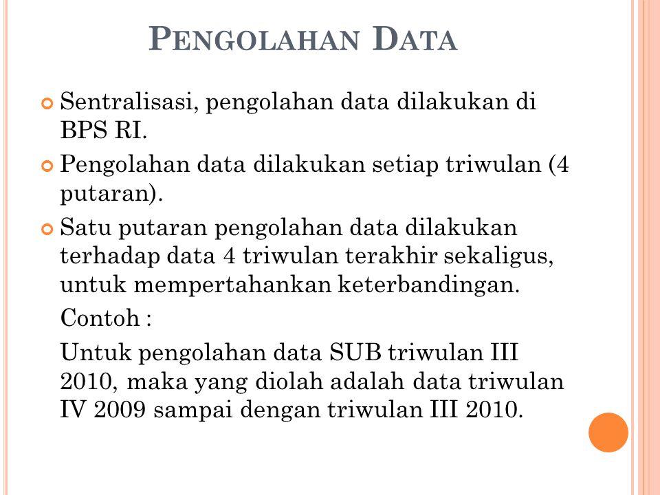 Pengolahan Data Sentralisasi, pengolahan data dilakukan di BPS RI.