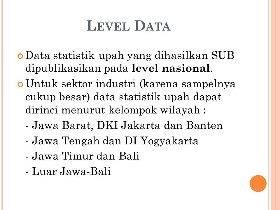 Level Data Data statistik upah yang dihasilkan SUB dipublikasikan pada level nasional.