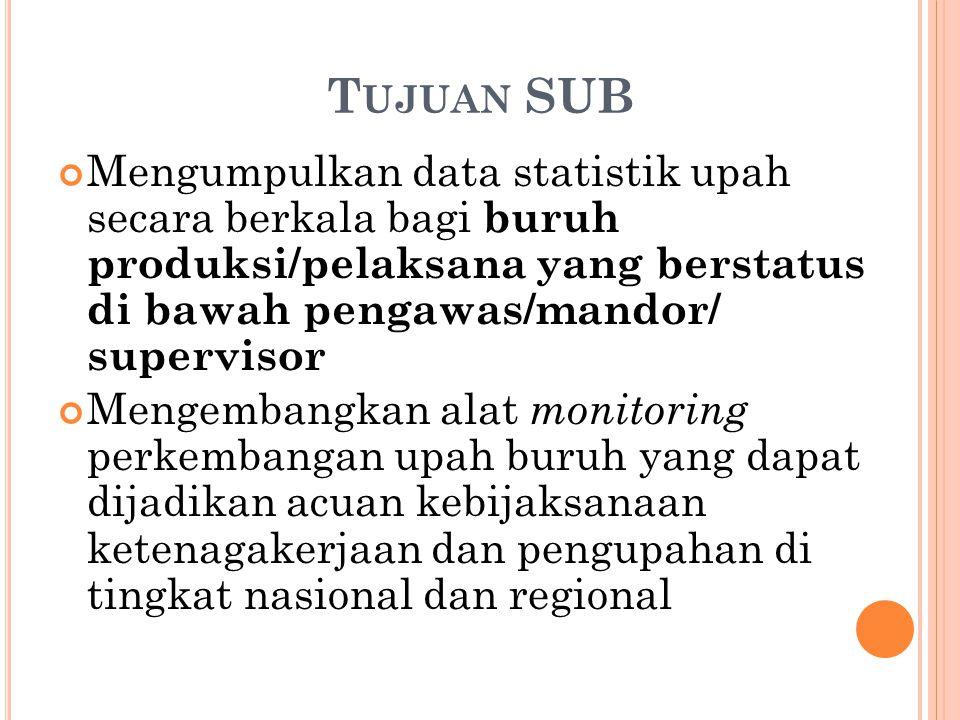 Tujuan SUB Mengumpulkan data statistik upah secara berkala bagi buruh produksi/pelaksana yang berstatus di bawah pengawas/mandor/ supervisor.