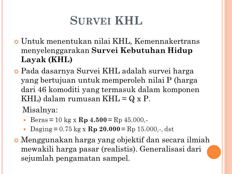 Survei KHL Untuk menentukan nilai KHL, Kemennakertrans menyelenggarakan Survei Kebutuhan Hidup Layak (KHL)