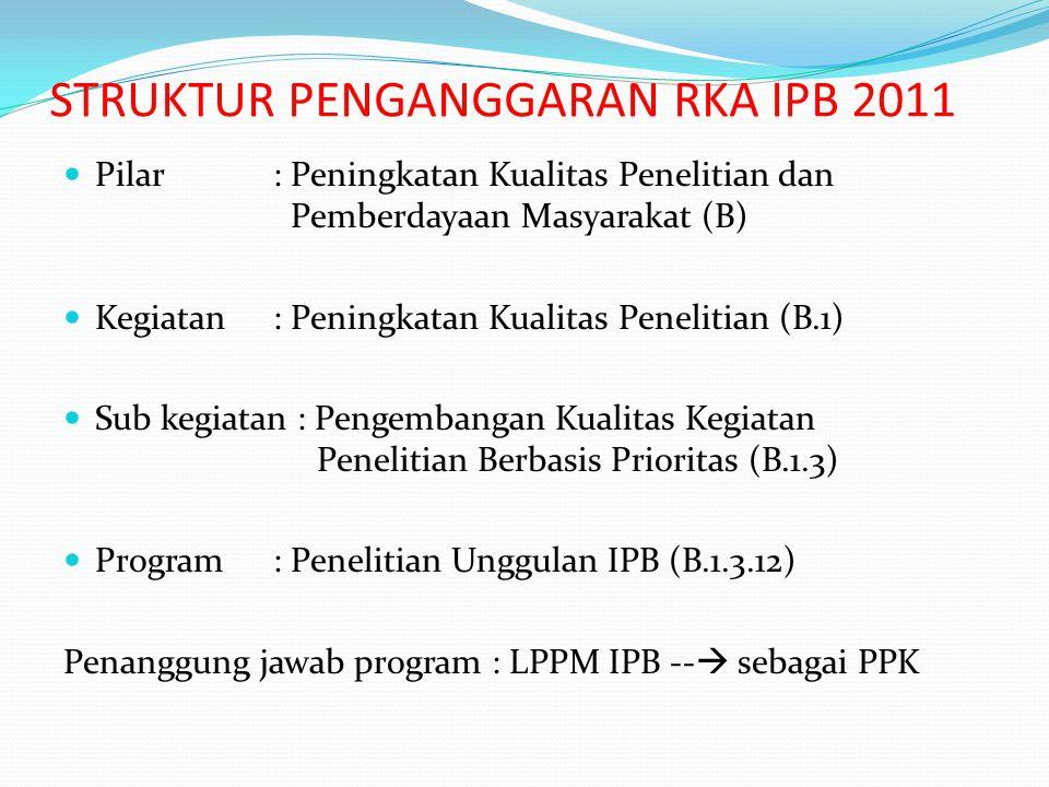 STRUKTUR PENGANGGARAN RKA IPB 2011