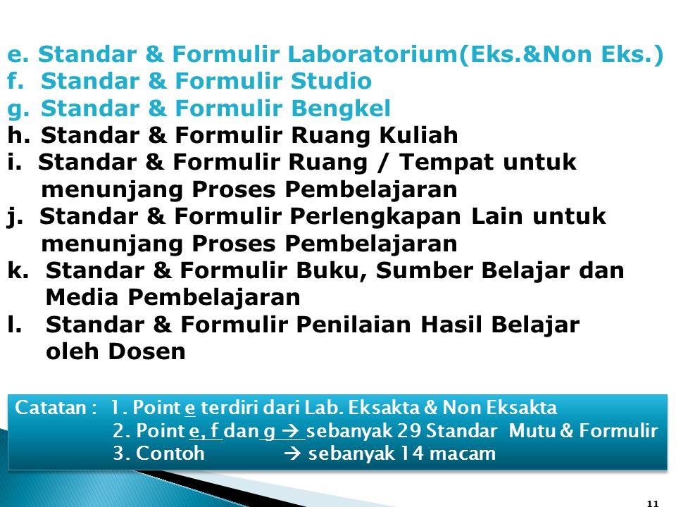 e. Standar & Formulir Laboratorium(Eks.&Non Eks.)