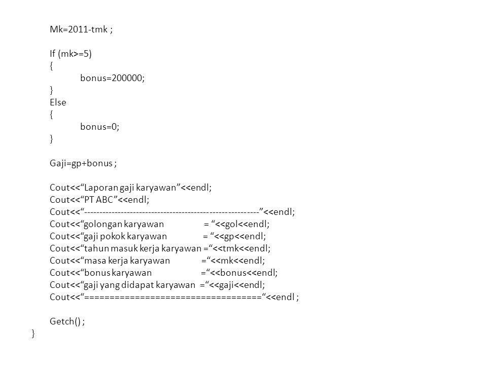 Mk=2011-tmk ; If (mk>=5) { bonus=200000; } Else bonus=0; Gaji=gp+bonus ; Cout<< Laporan gaji karyawan <<endl; Cout<< PT ABC <<endl; Cout<< --------------------------------------------------------- <<endl; Cout<< golongan karyawan = <<gol<<endl; Cout<< gaji pokok karyawan = <<gp<<endl; Cout<< tahun masuk kerja karyawan = <<tmk<<endl; Cout<< masa kerja karyawan = <<mk<<endl; Cout<< bonus karyawan = <<bonus<<endl; Cout<< gaji yang didapat karyawan = <<gaji<<endl; Cout<< =================================== <<endl ; Getch() ;