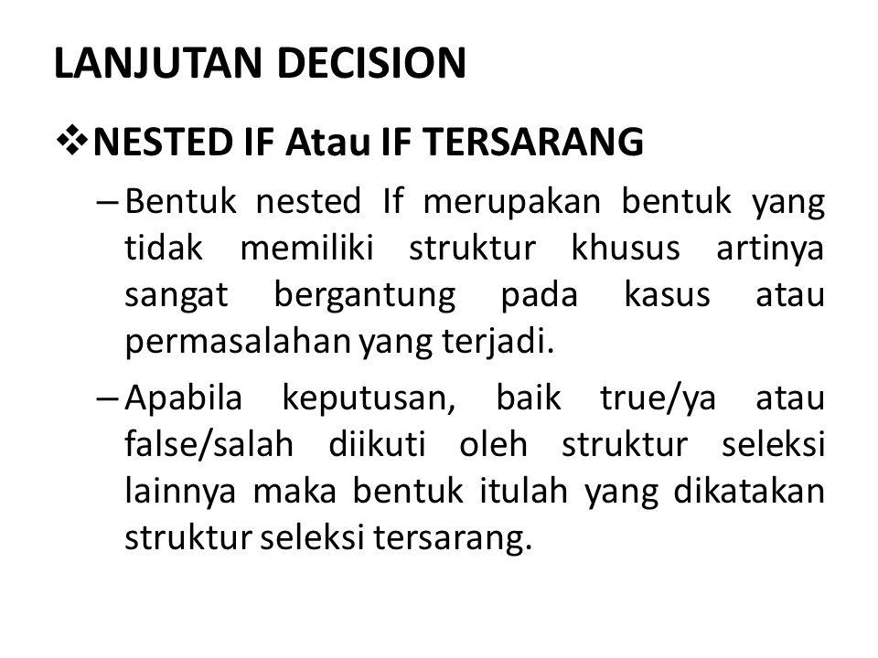 LANJUTAN DECISION NESTED IF Atau IF TERSARANG
