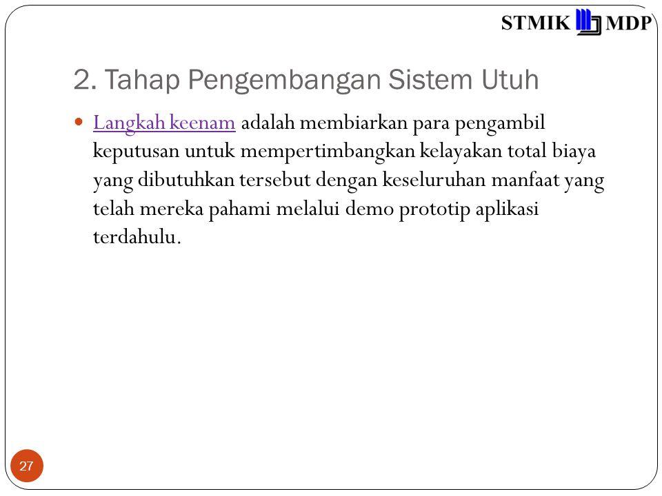 2. Tahap Pengembangan Sistem Utuh