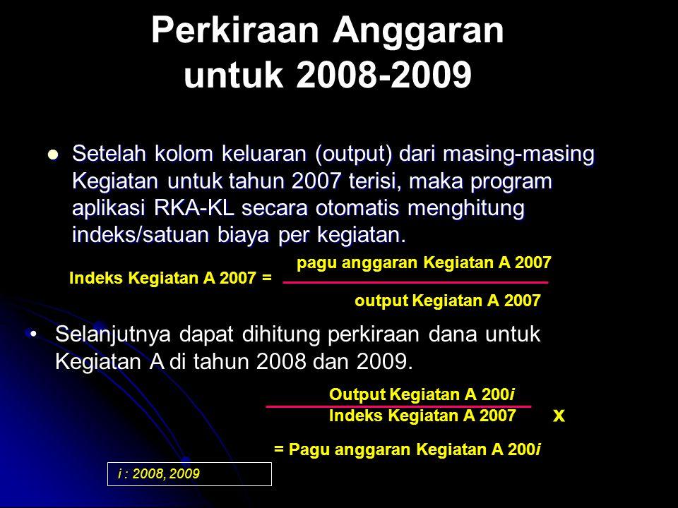 Perkiraan Anggaran untuk 2008-2009