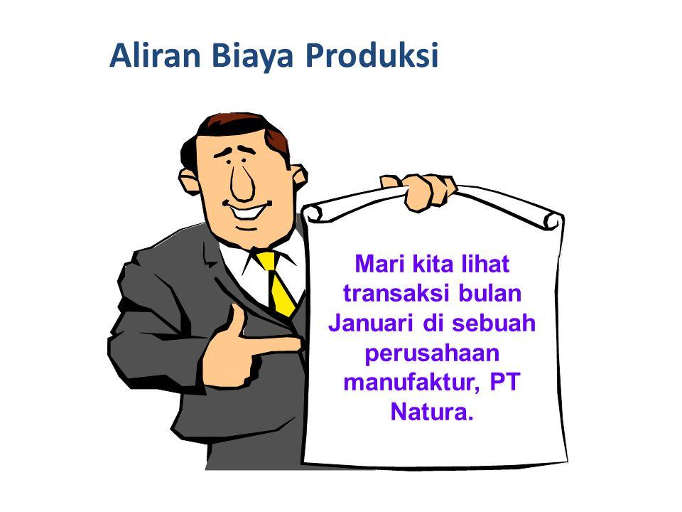 Aliran Biaya Produksi Mari kita lihat transaksi bulan Januari di sebuah perusahaan manufaktur, PT Natura.