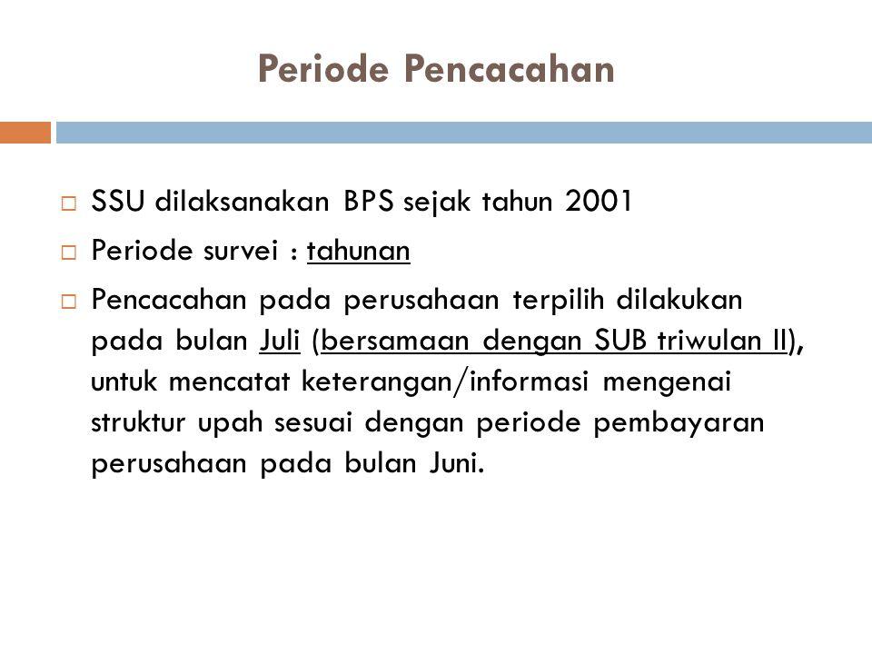 Periode Pencacahan SSU dilaksanakan BPS sejak tahun 2001