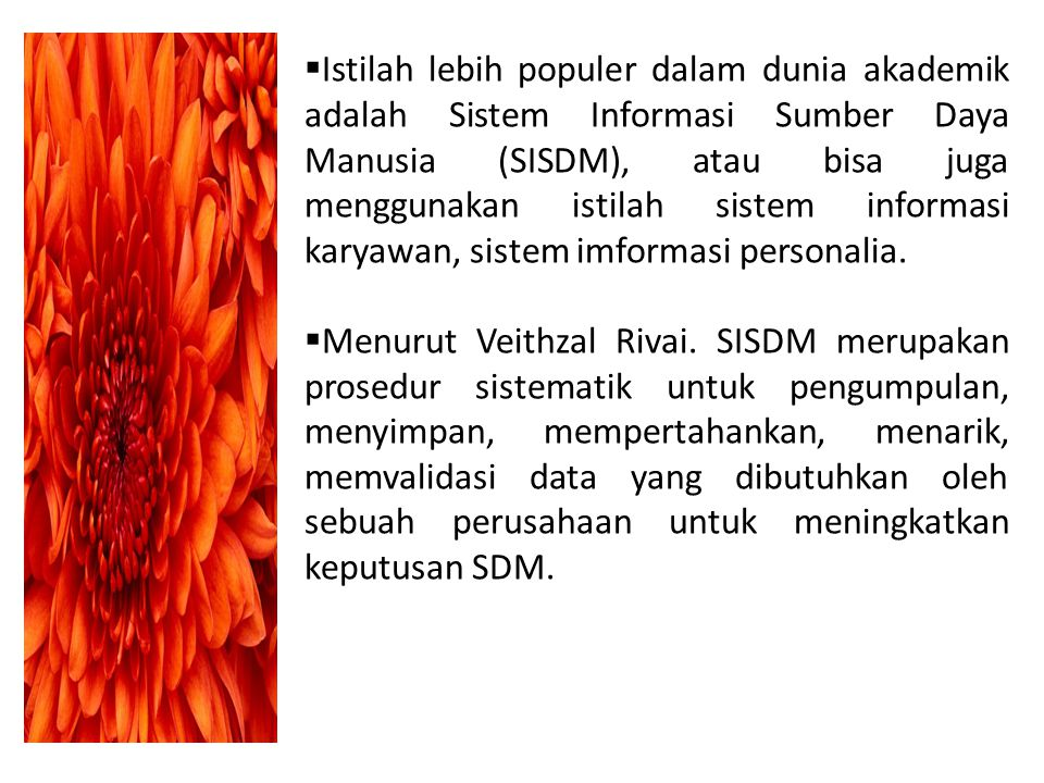 Istilah lebih populer dalam dunia akademik adalah Sistem Informasi Sumber Daya Manusia (SISDM), atau bisa juga menggunakan istilah sistem informasi karyawan, sistem imformasi personalia.
