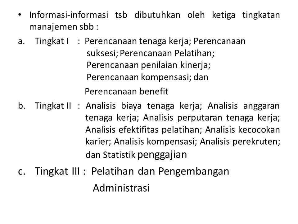 Tingkat III : Pelatihan dan Pengembangan Administrasi