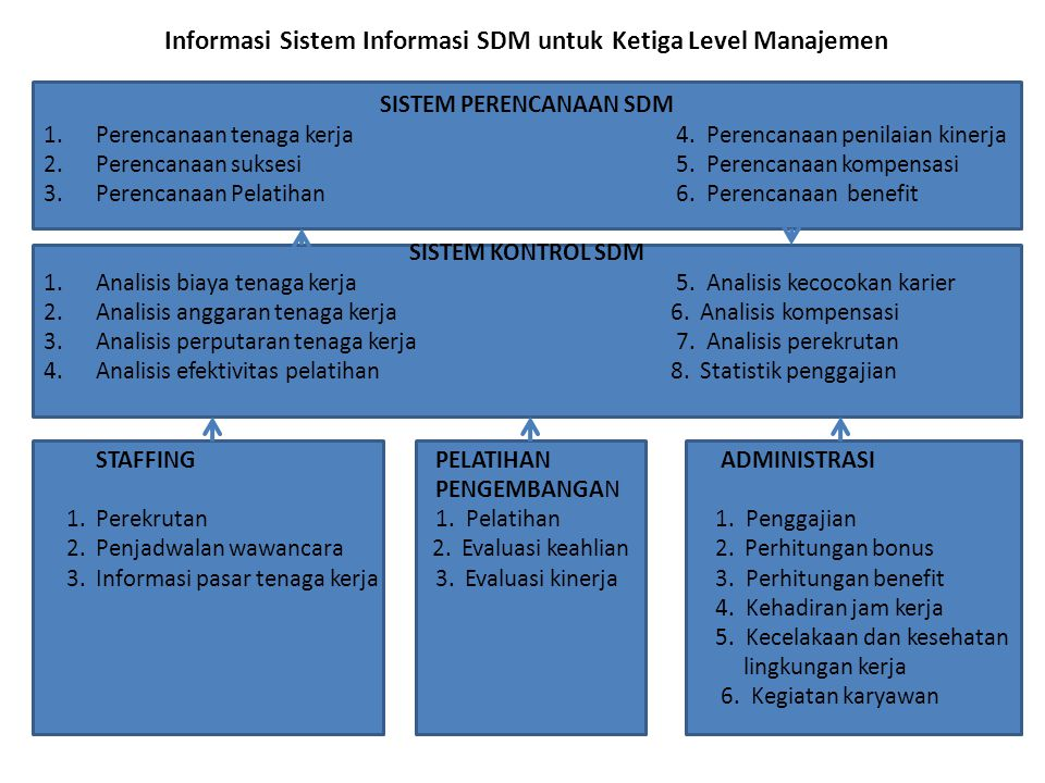Informasi Sistem Informasi SDM untuk Ketiga Level Manajemen