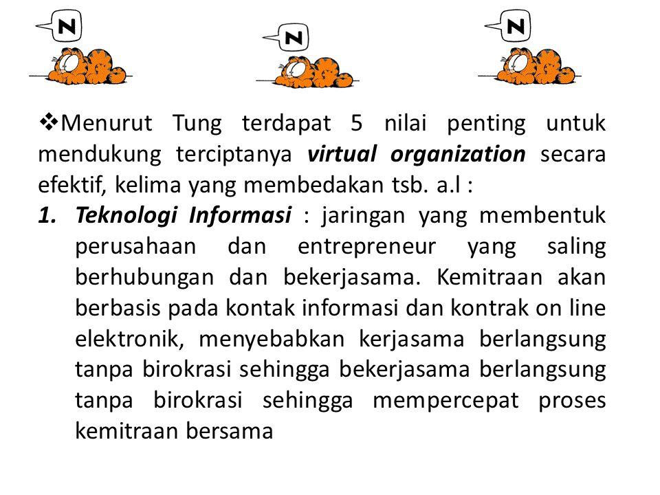 Menurut Tung terdapat 5 nilai penting untuk mendukung terciptanya virtual organization secara efektif, kelima yang membedakan tsb. a.l :