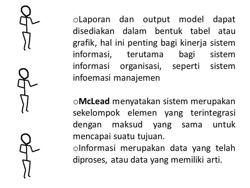 Laporan dan output model dapat disediakan dalam bentuk tabel atau grafik, hal ini penting bagi kinerja sistem informasi, terutama bagi sistem informasi organisasi, seperti sistem infoemasi manajemen