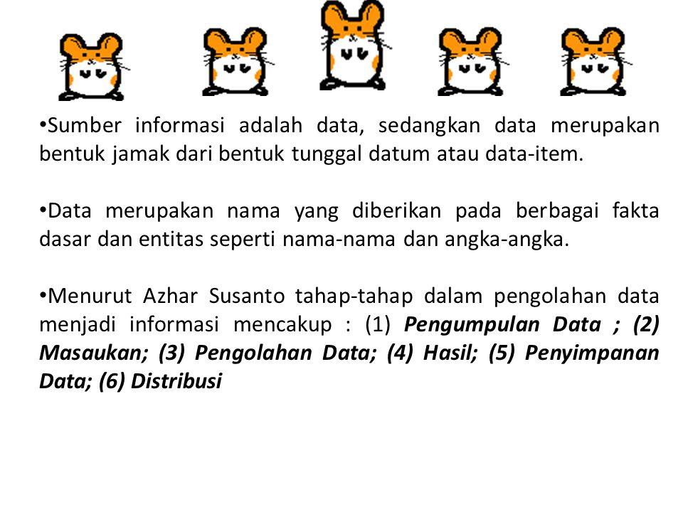Sumber informasi adalah data, sedangkan data merupakan bentuk jamak dari bentuk tunggal datum atau data-item.
