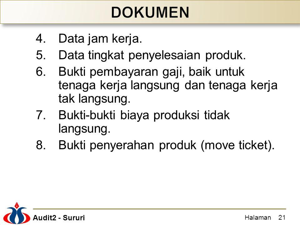DOKUMEN Data jam kerja. Data tingkat penyelesaian produk.