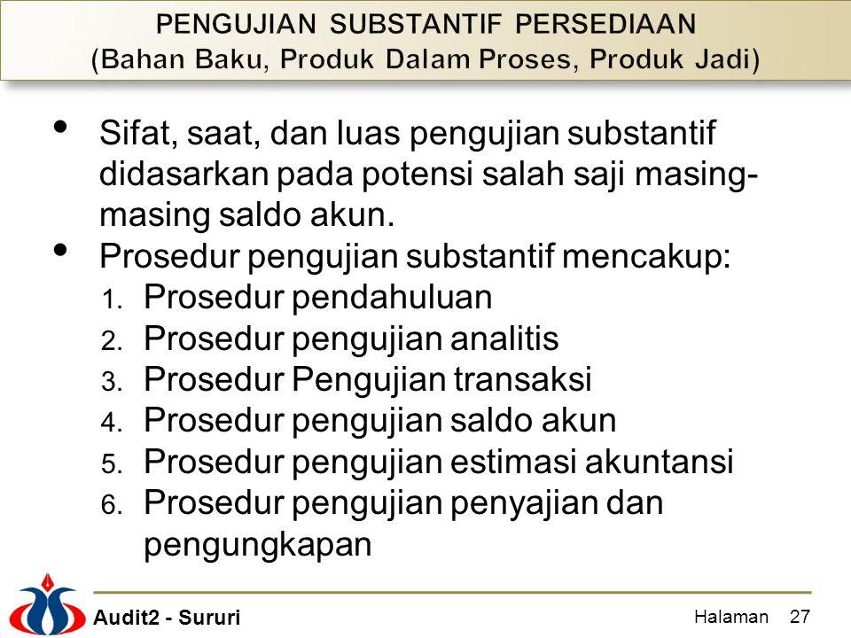 Prosedur pengujian substantif mencakup: Prosedur pendahuluan