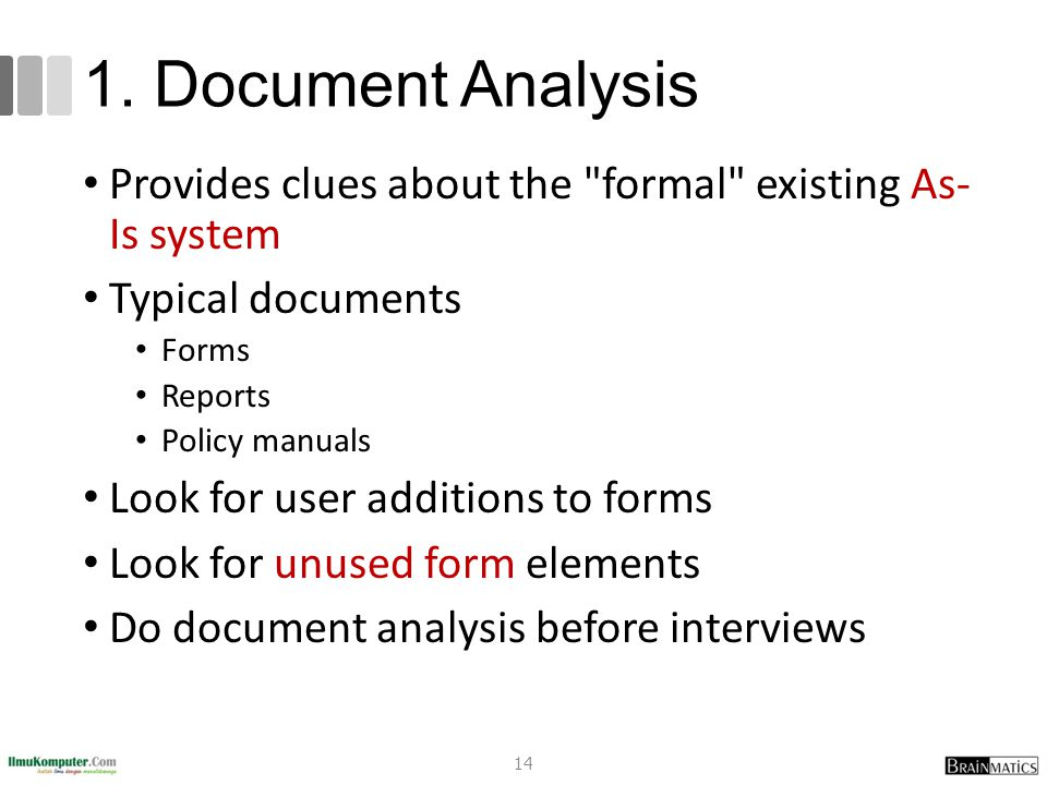 1. Document Analysis Provides clues about the formal existing As- Is system. Typical documents. Forms.