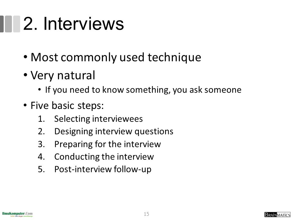 2. Interviews Most commonly used technique Very natural