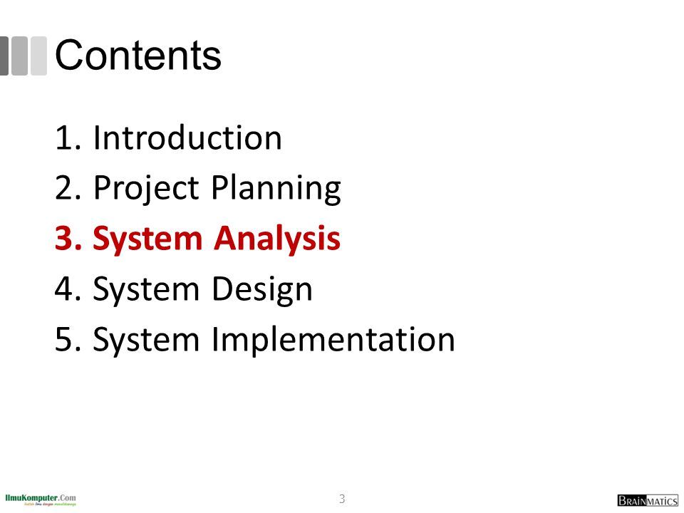 Contents Introduction Project Planning System Analysis System Design