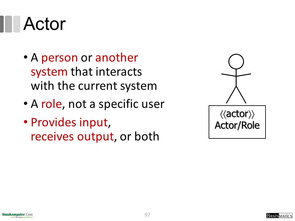 Actor A person or another system that interacts with the current system. A role, not a specific user.