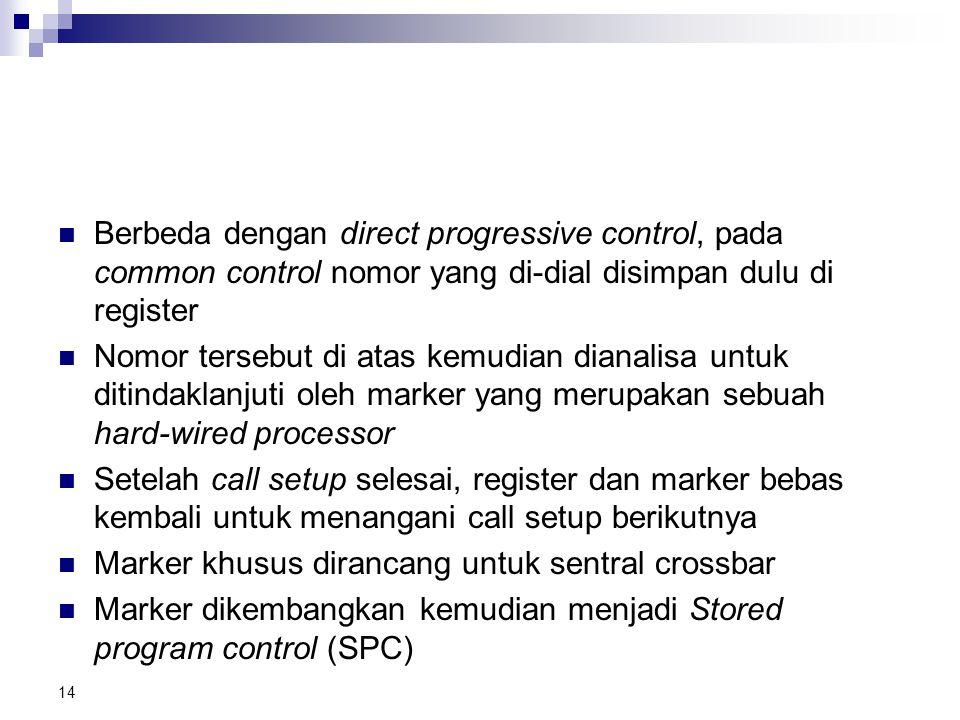 Berbeda dengan direct progressive control, pada common control nomor yang di-dial disimpan dulu di register