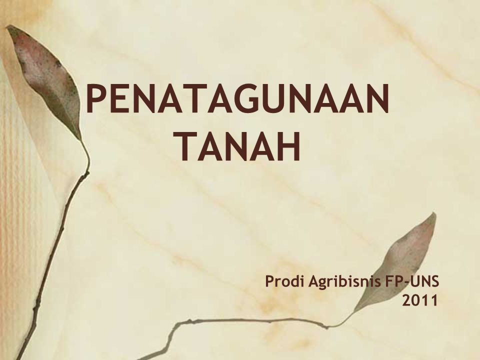 PENATAGUNAAN TANAH Prodi Agribisnis FP-UNS 2011