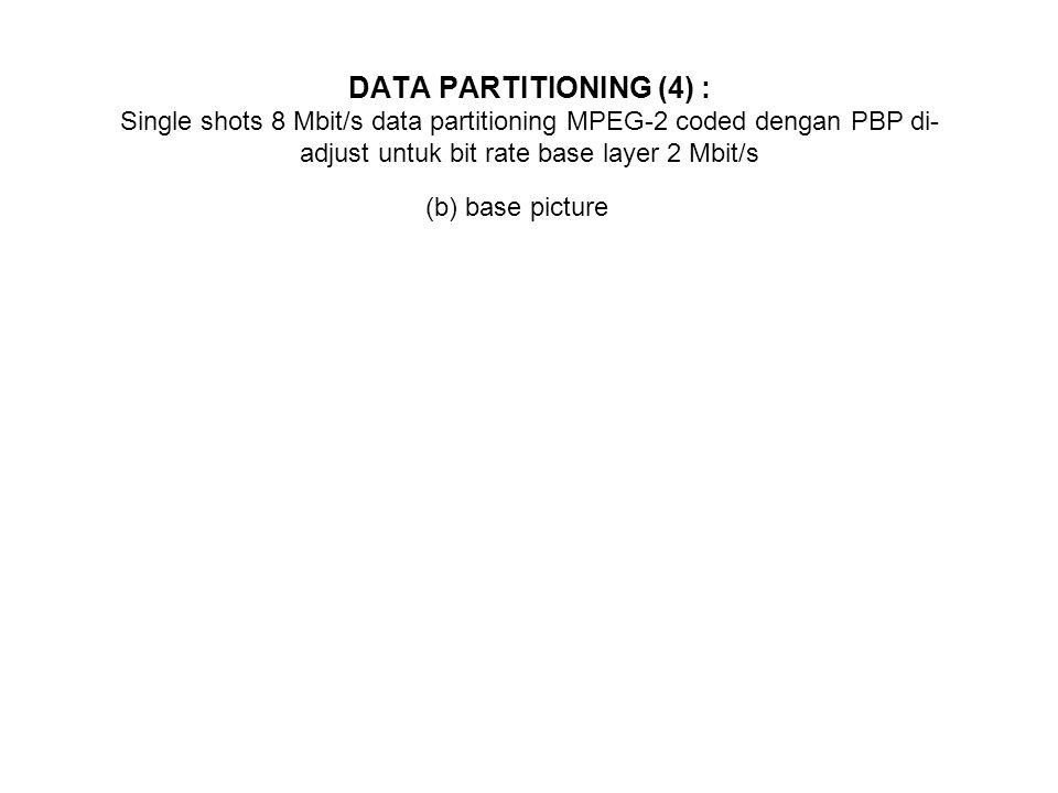 DATA PARTITIONING (4) : Single shots 8 Mbit/s data partitioning MPEG-2 coded dengan PBP di-adjust untuk bit rate base layer 2 Mbit/s