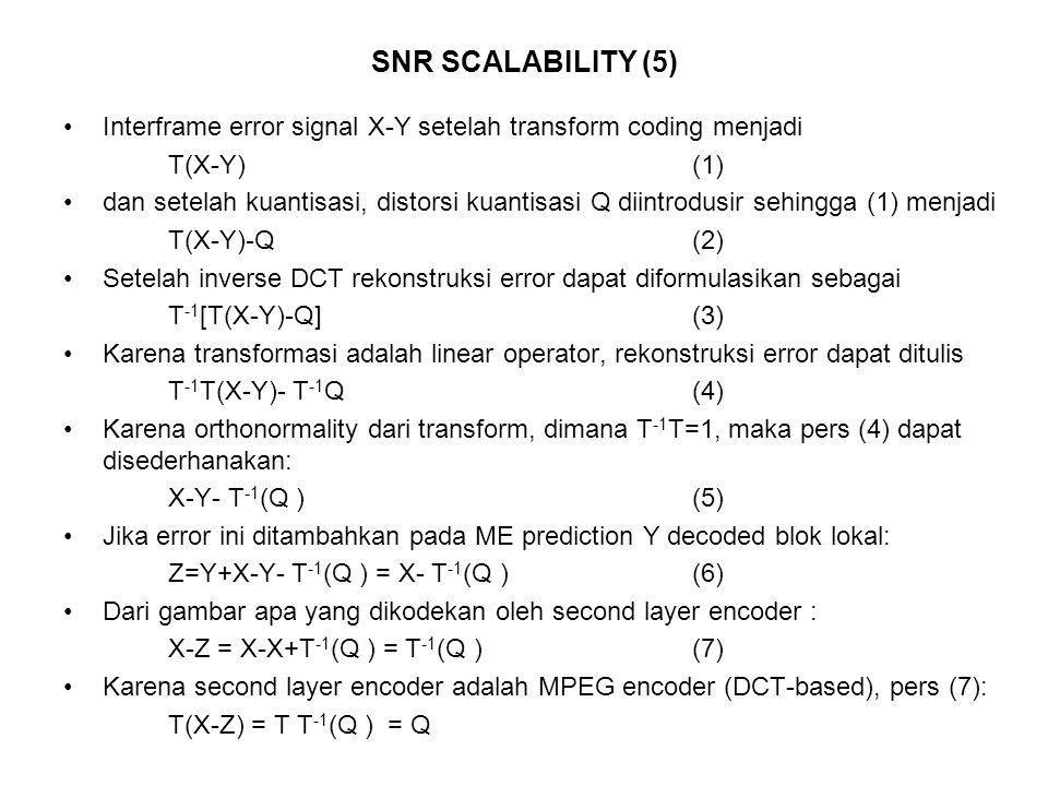 SNR SCALABILITY (5) Interframe error signal X-Y setelah transform coding menjadi. T(X-Y) (1)