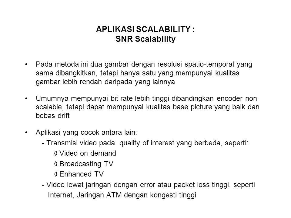 APLIKASI SCALABILITY : SNR Scalability