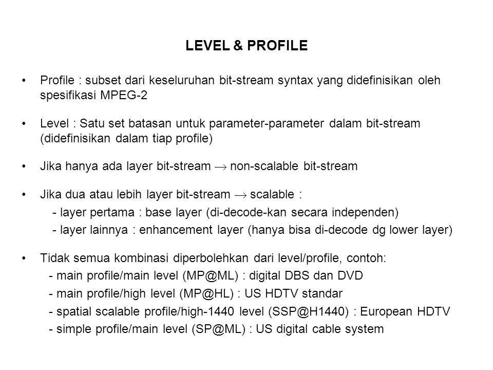 LEVEL & PROFILE Profile : subset dari keseluruhan bit-stream syntax yang didefinisikan oleh spesifikasi MPEG-2.