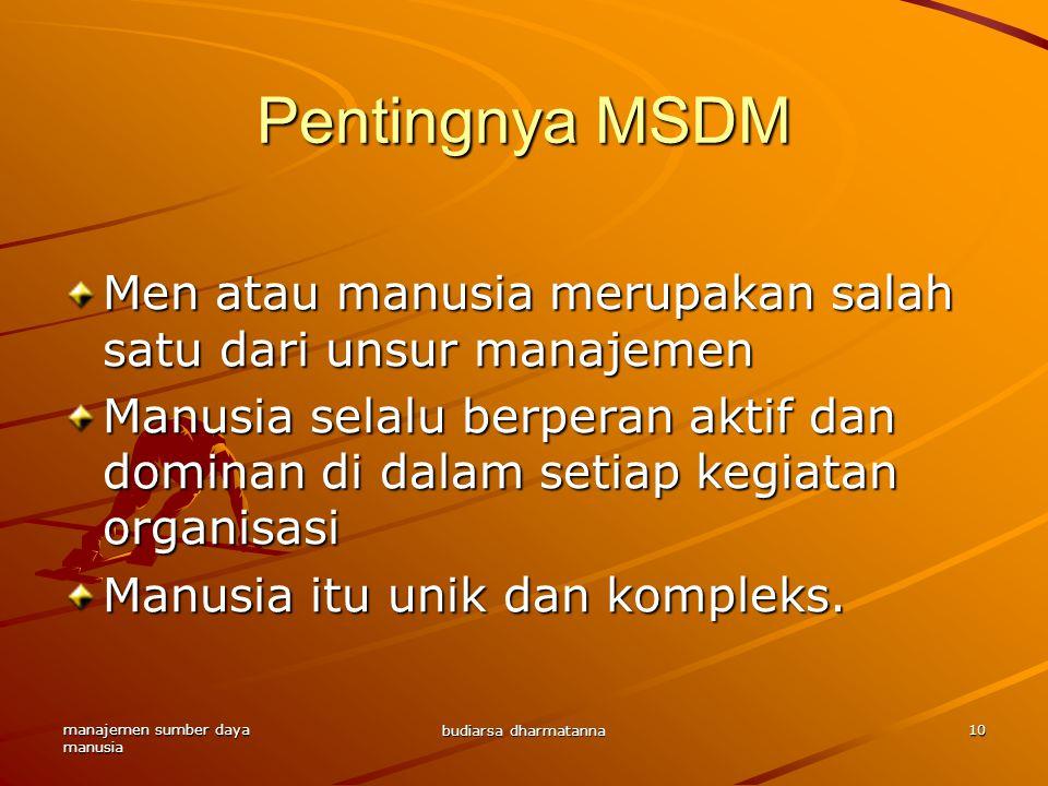 Pentingnya MSDM Men atau manusia merupakan salah satu dari unsur manajemen.