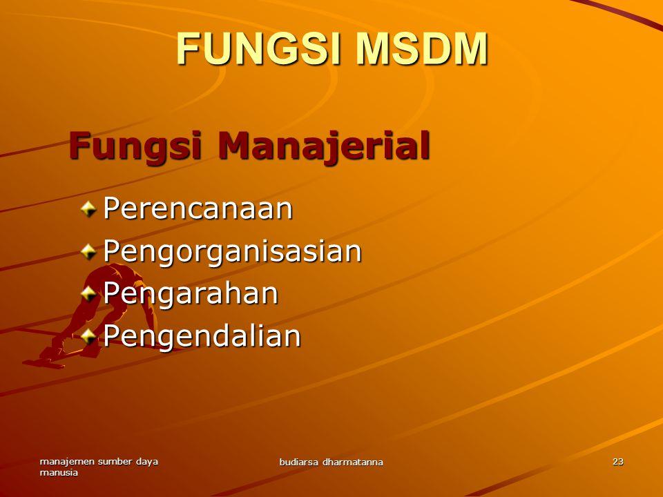 FUNGSI MSDM Fungsi Manajerial Perencanaan Pengorganisasian Pengarahan
