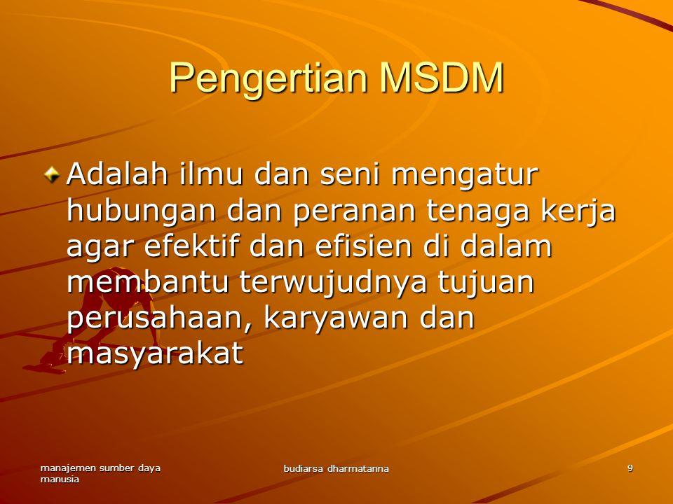 Pengertian MSDM