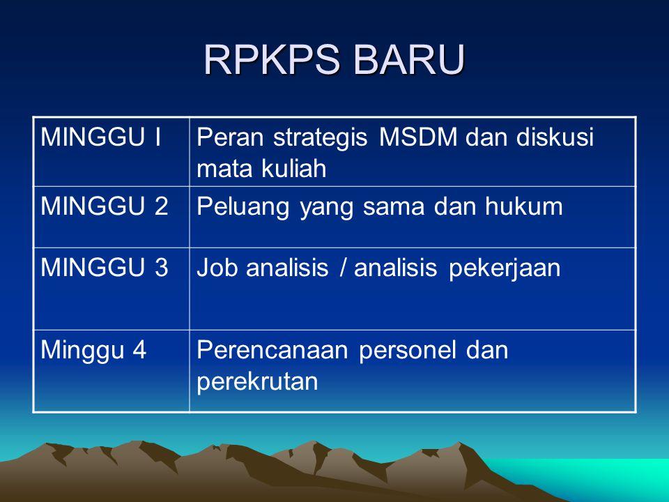 RPKPS BARU MINGGU I Peran strategis MSDM dan diskusi mata kuliah