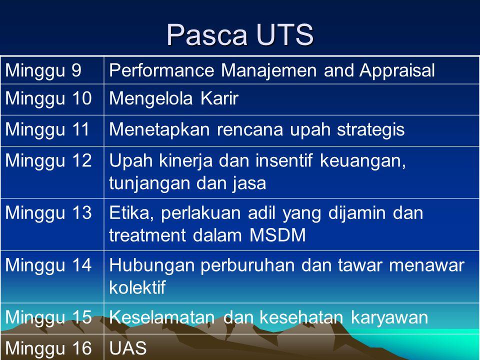 Pasca UTS Minggu 9 Performance Manajemen and Appraisal Minggu 10