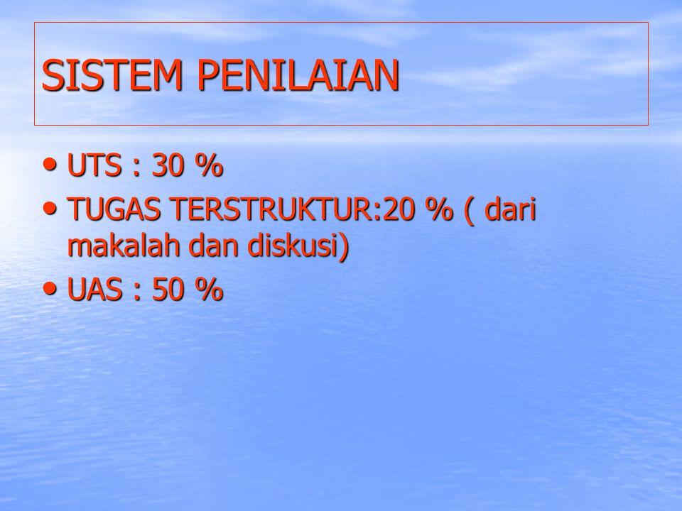 SISTEM PENILAIAN UTS : 30 %