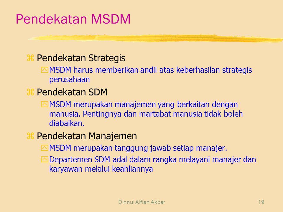 Pendekatan MSDM Pendekatan Strategis Pendekatan SDM