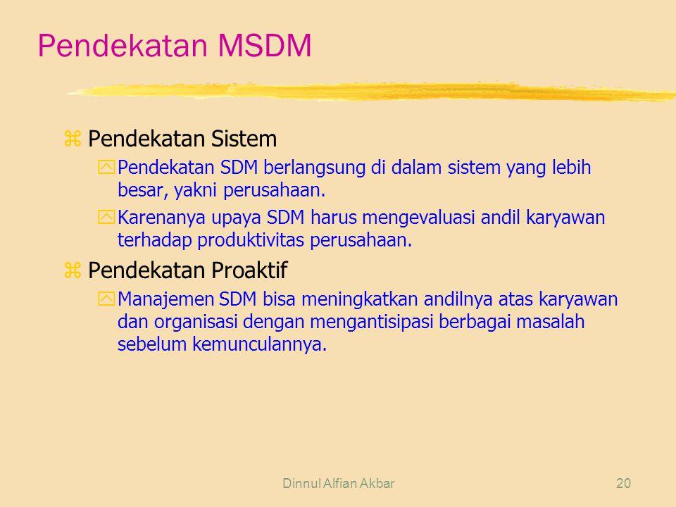 Pendekatan MSDM Pendekatan Sistem Pendekatan Proaktif