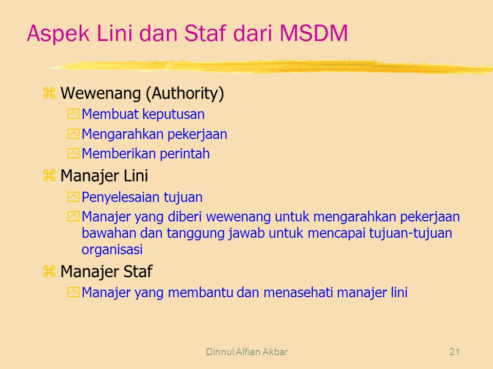 Aspek Lini dan Staf dari MSDM