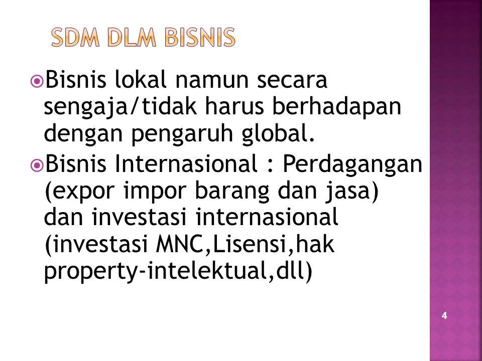 SDM DLM BISNIS Bisnis lokal namun secara sengaja/tidak harus berhadapan dengan pengaruh global.