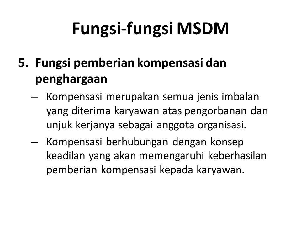 Fungsi-fungsi MSDM Fungsi pemberian kompensasi dan penghargaan